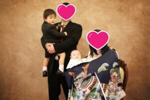スタジオバンビ鈴鹿/お宮参りの家族写真撮影