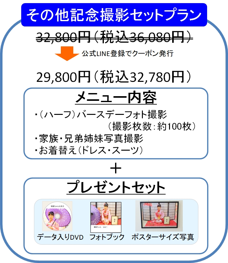 スタジオバンビ鈴鹿の記念撮影価格